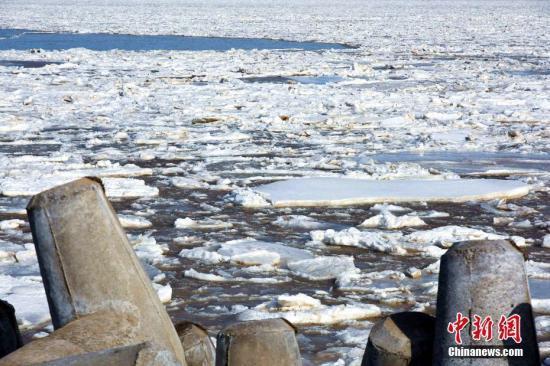 渤海莱州湾的东营近海一片冰封,浮冰外缘线均在离岸3海里以上,最大至10海里。