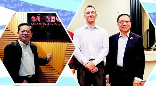 左图:马来西亚人林尊文在德州-东盟项目中心。 右图:张汝惟(右一)和友人在第二届美国孔子文化节上合影。