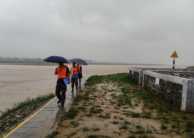 牡丹黄河河务局刘庄管理段加大工程巡查力度,及时应对大流量洪水。 (张林轩 摄)