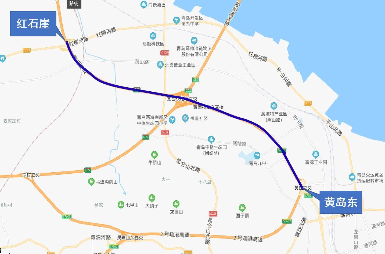 胶州湾高速免费通行段示意图
