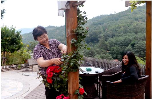 肖玉爱细心修剪民宿花园的鲜花,她带领村民在各个角落种花种果,要把下端士村变成花果山。